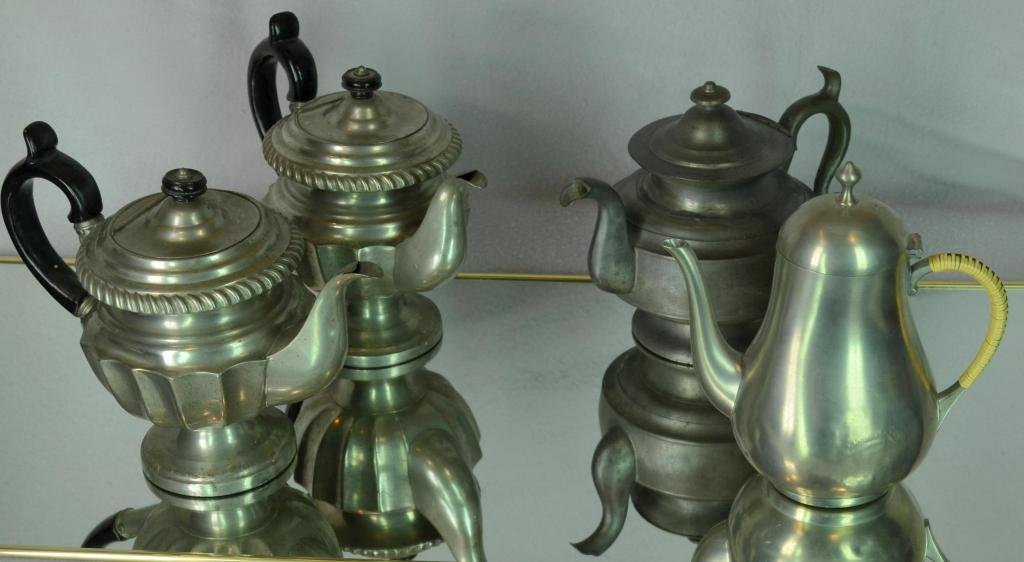16: 4 Pewter coffee Pots
