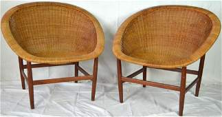 127: 2 Danish Wicker Chairs