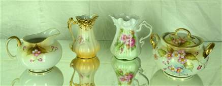 430: 5 pc Hand Painted Nippon Creamer and Sugar