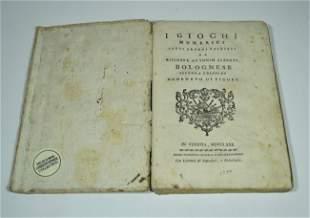 4: ALBERTI, GIUSEPPE ANTONIO. I Giochi Numerici 1780