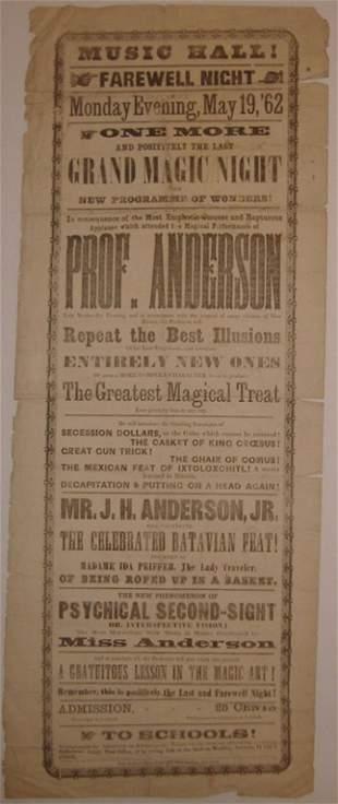11: ANDERSON, JOHN HENRY. 1862 Broadside