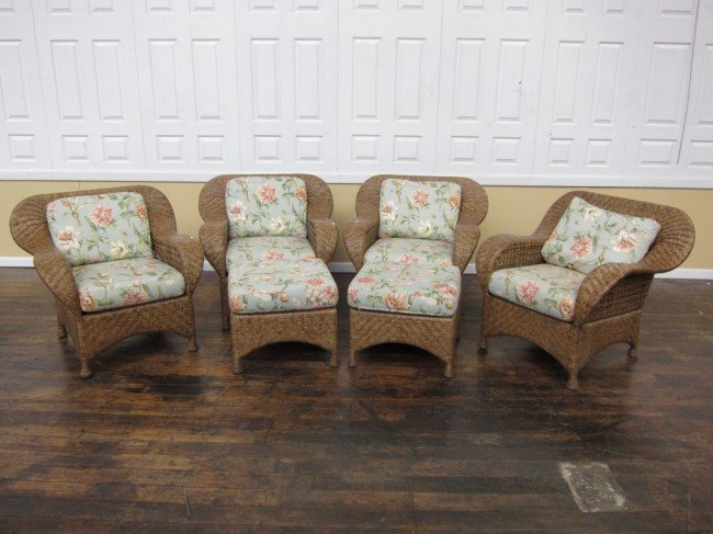 7: SIX PIECE MCGUIRE RATTAN SET