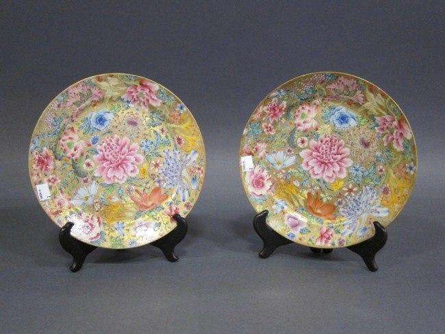 14: PAIR ANTIQUE ORIENTAL PORCELAIN PLATES