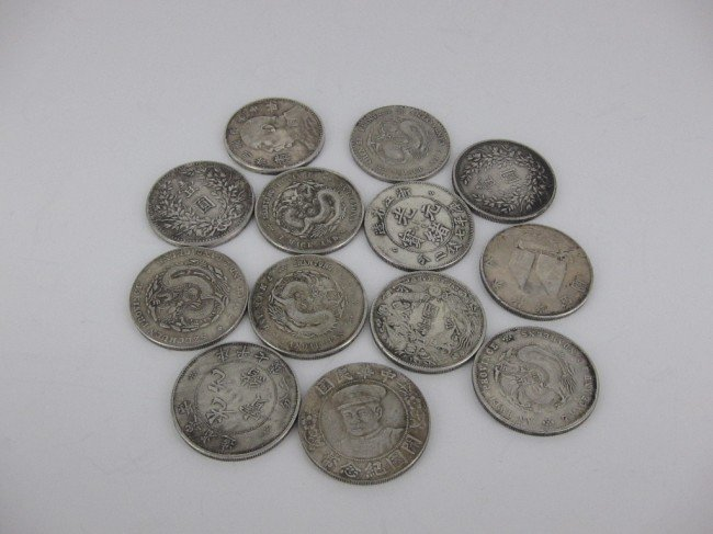 287: GROUP 13 ANTIQUE CHINESE SILVER COINS