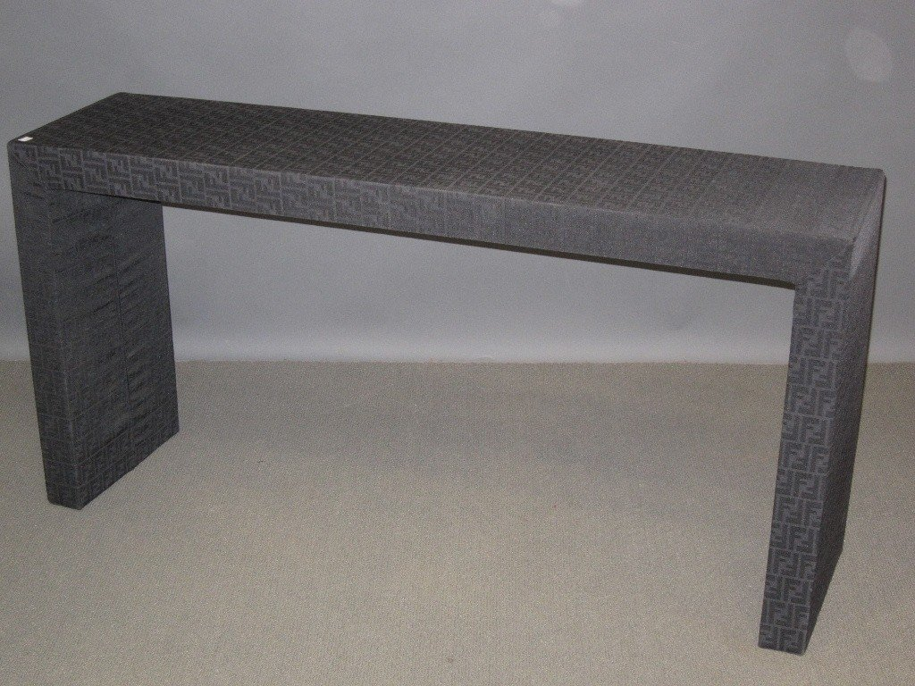 54: FENDI CASA BLACK UPHOSTERED CONSOLE TABLE