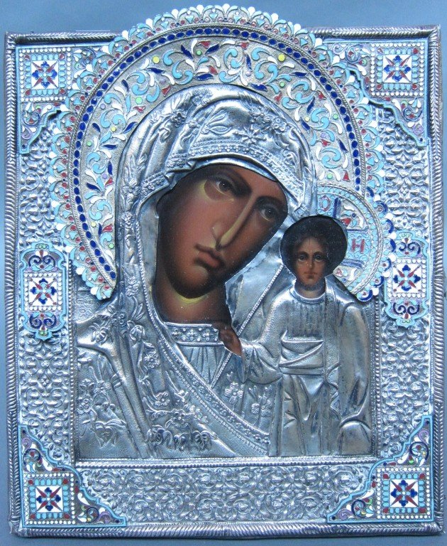 12: RUSSIAN SILVER FRAMED ICON