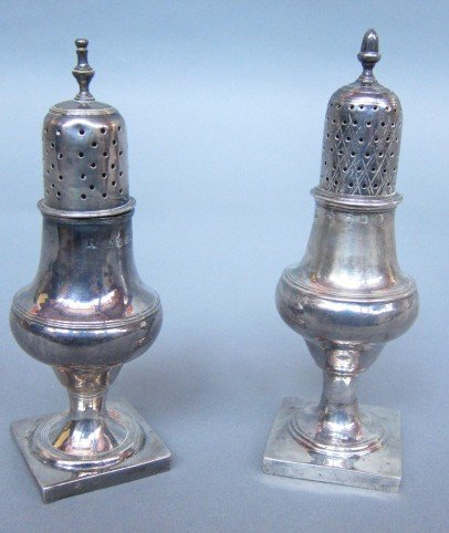 16: TWO GEORGIAN STERLING SILVER SHAKERS