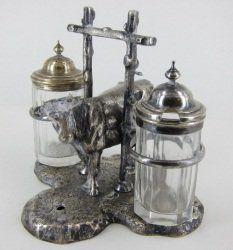 283: SILVER PLATE COW FIGURAL CONDIMENT SET
