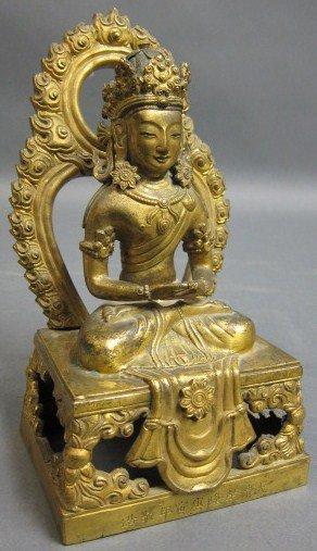 525: ANTIQUE GILT BRONZE BUDDHA FIGURE