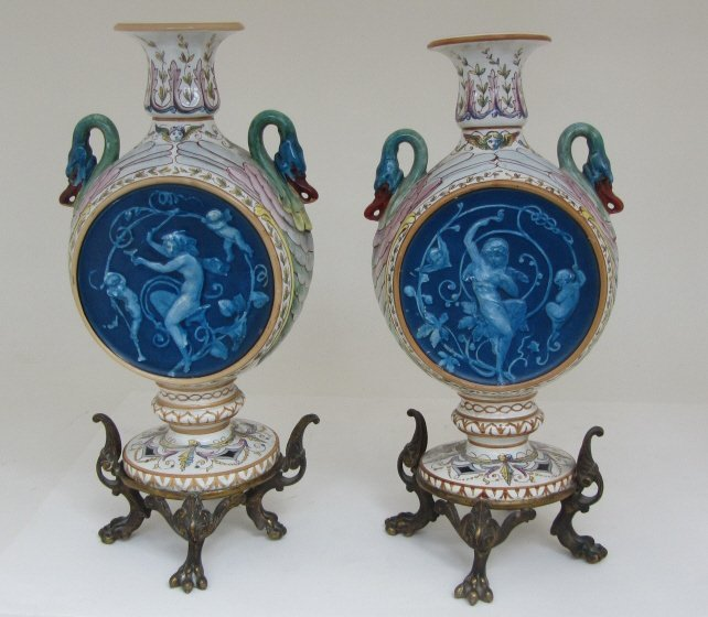 153A: PAIR ANTIQUE ITALIAN MAJOLICA FLASKS ON STANDS