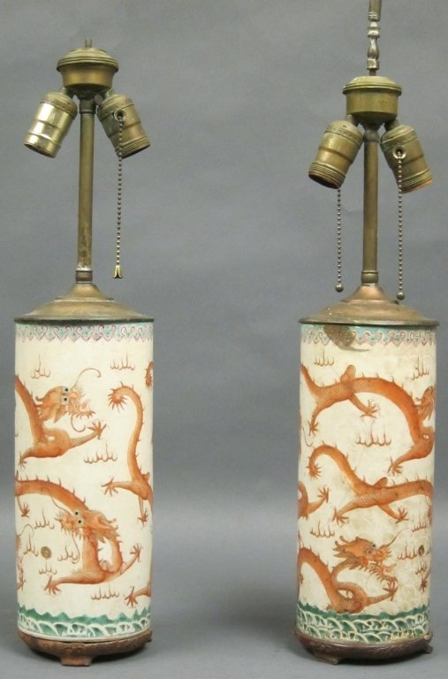 158A: PAIR CYLINDRICAL ORIENTAL PORCELAIN VASES
