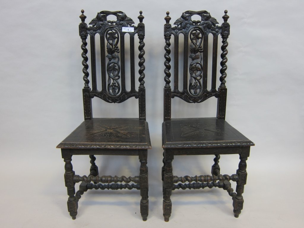 1: PAIR OF HALL CHAIRS