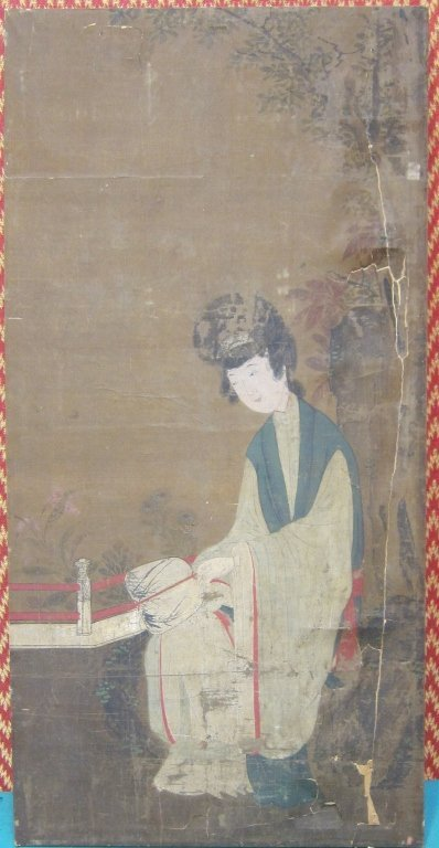 165: ANTIQUE CHINESE OIL ON SILK