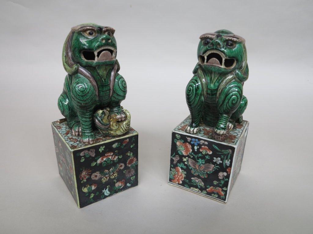 PAIR ANTIQUE CHINESE PORCELAIN FOO LION FIGURES