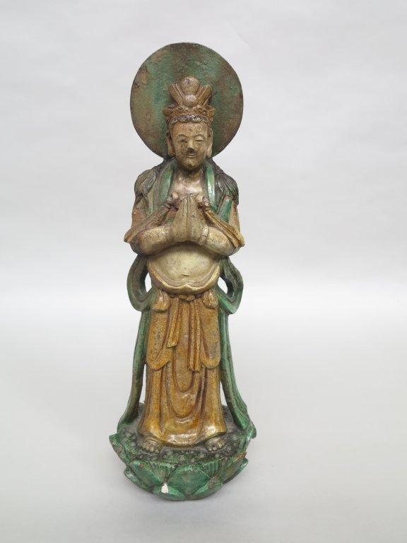 ANTIQUE CHINESE GLAZED BUDDHA FIGURE
