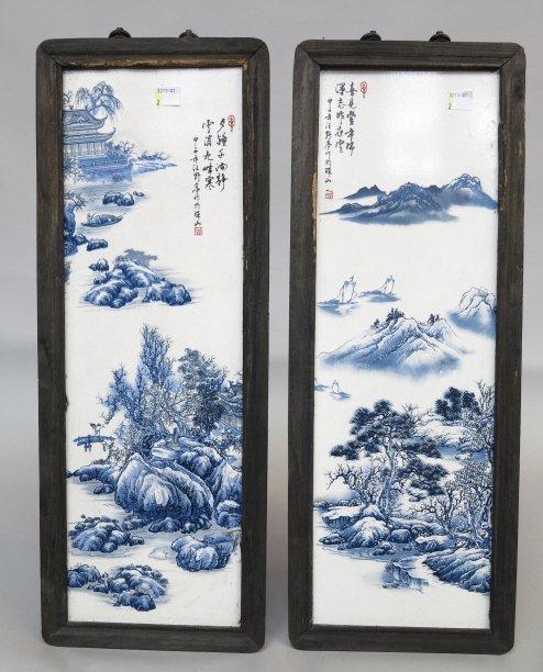 PAIR CHINESE GLAZED PORCELAIN TILES
