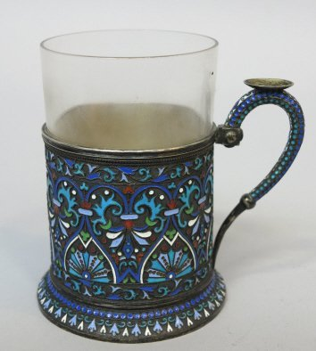 RUSSIAN ENAMELED SILVER CUP HOLDER
