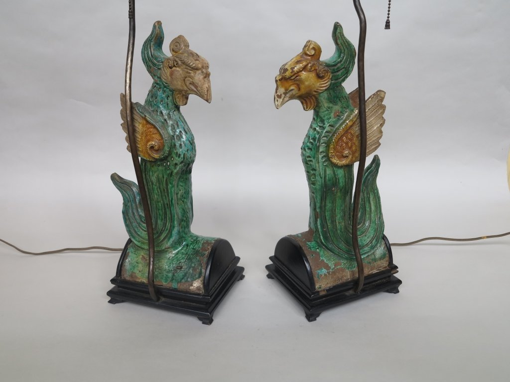 4: PAIR ANTIQUE CHINESE PHOENIX FIGURAL ROOF TILES