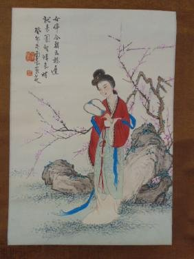 Chinese scroll, lady with fan by blossom tree