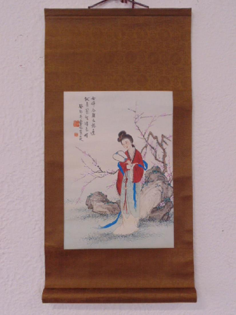 Chinese scroll, lady with fan by blossom tree - 2