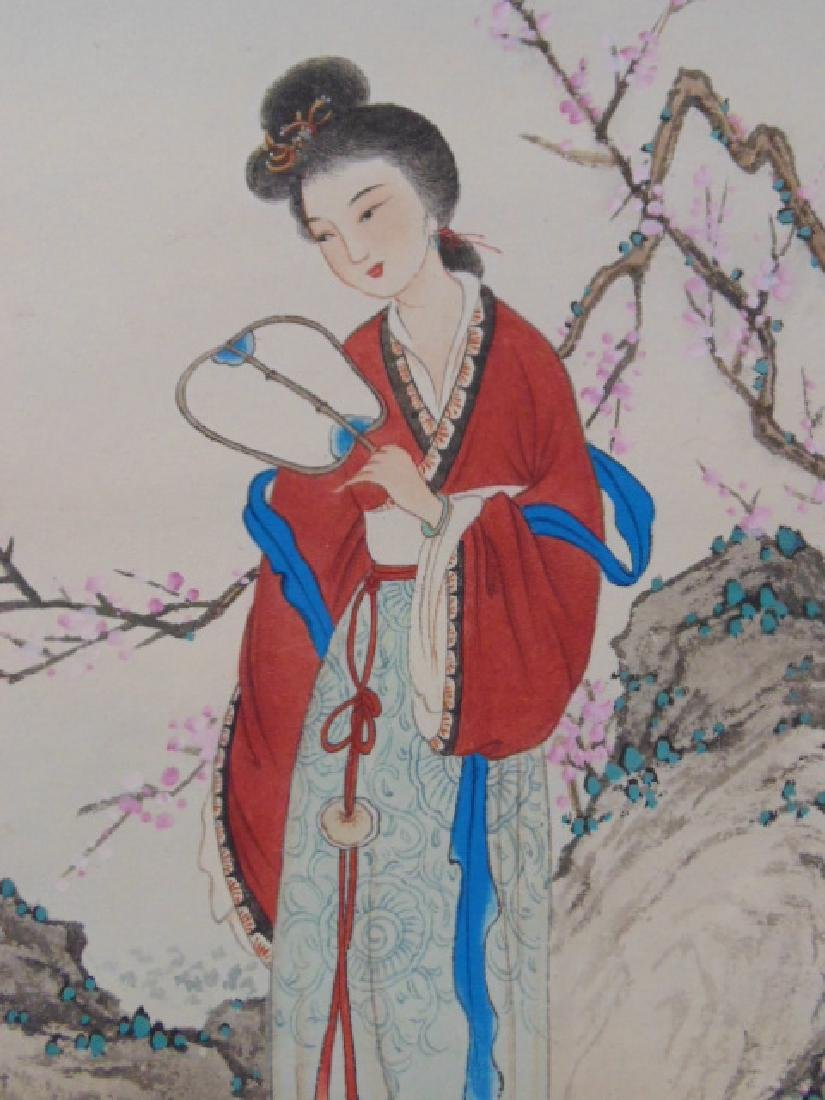 Chinese scroll, lady with fan by blossom tree - 3