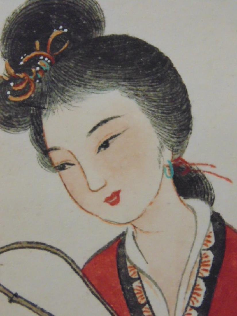 Chinese scroll, lady with fan by blossom tree - 8