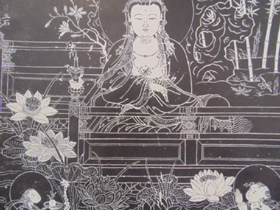 Chinese scroll,  Buddha in black & white - 5