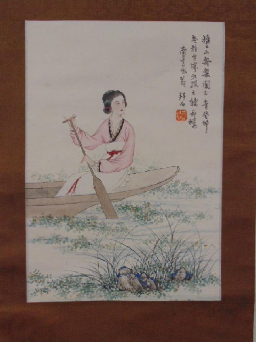 Chinese scroll, lady in boat, signed