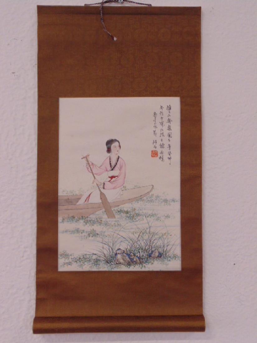 Chinese scroll, lady in boat, signed - 2
