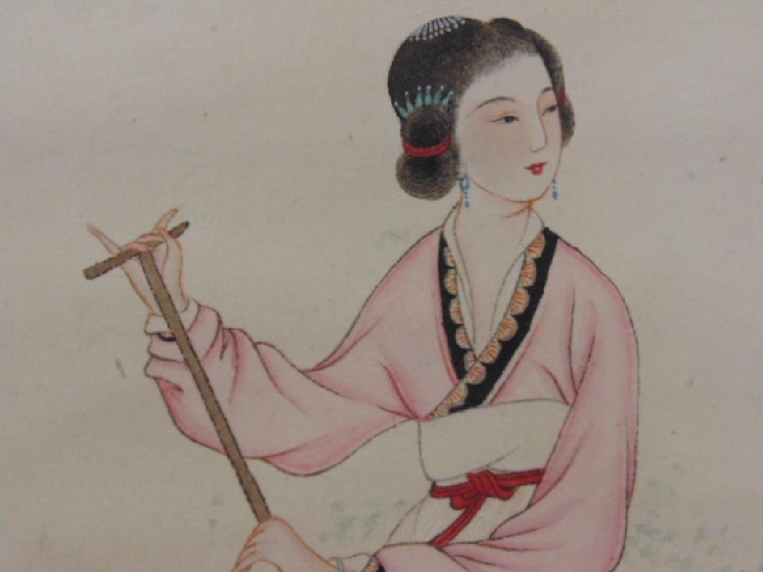 Chinese scroll, lady in boat, signed - 5