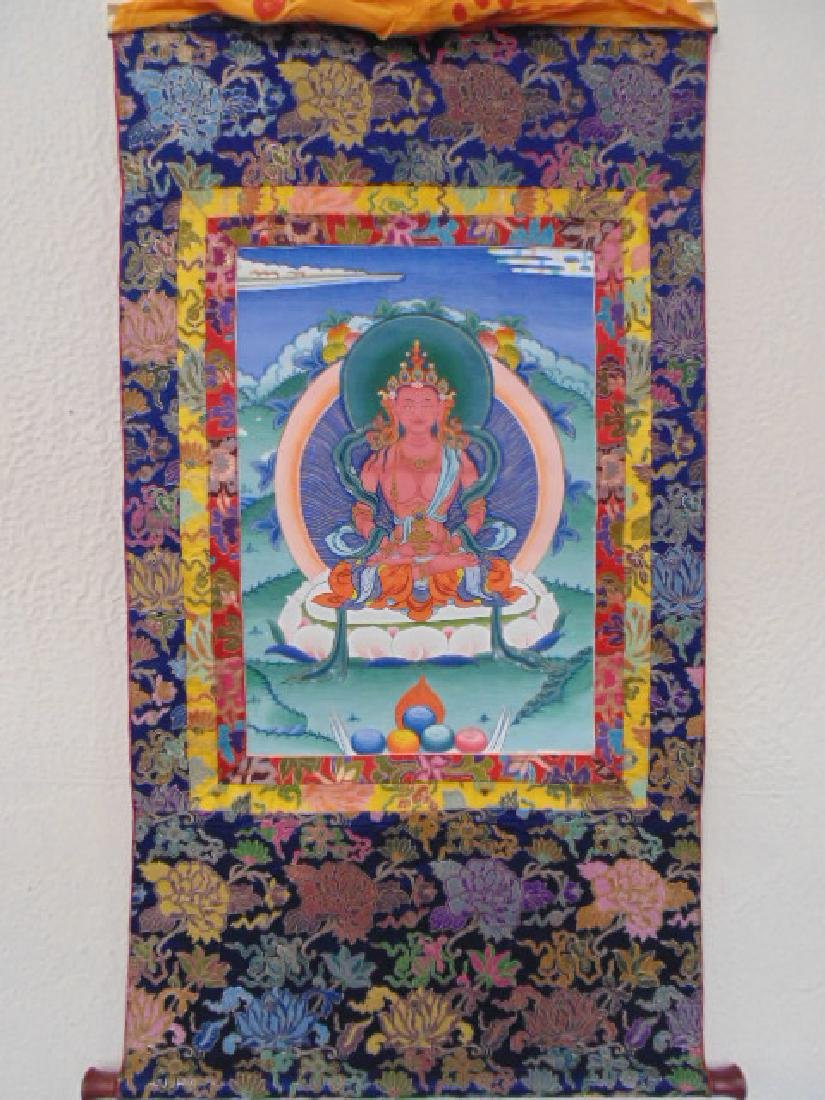 Tibet Thangka scroll,, Buddha, floral border