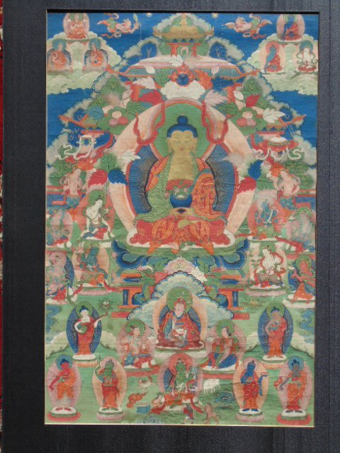 Antique Thangka, Buddha & various figures