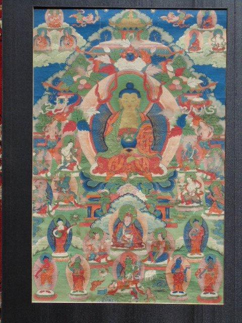 Antique Thangka, Buddha & various figures