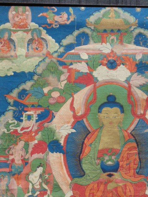 Antique Thangka, Buddha & various figures - 2