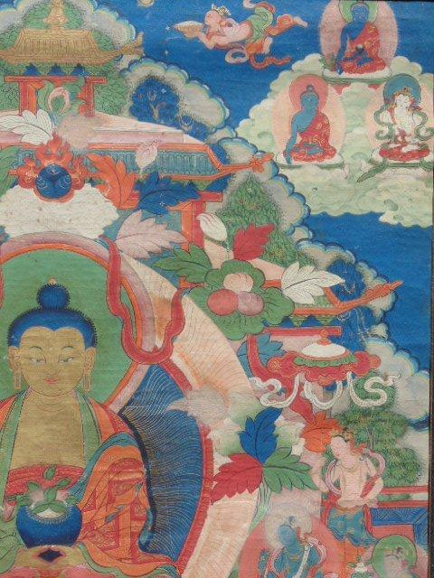 Antique Thangka, Buddha & various figures - 3