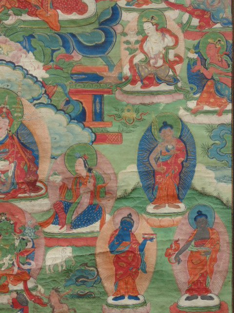 Antique Thangka, Buddha & various figures - 4