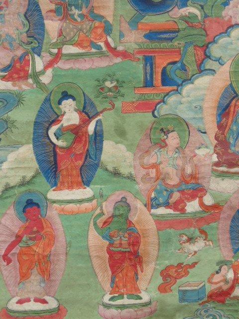 Antique Thangka, Buddha & various figures - 5