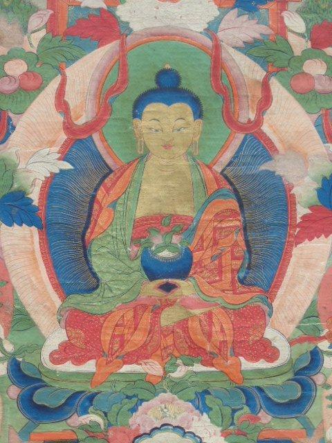 Antique Thangka, Buddha & various figures - 6
