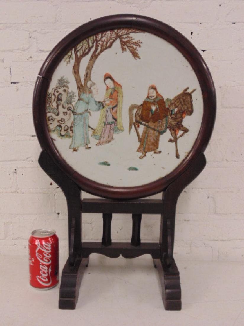Chinese porcelain plaque, woman offering drink