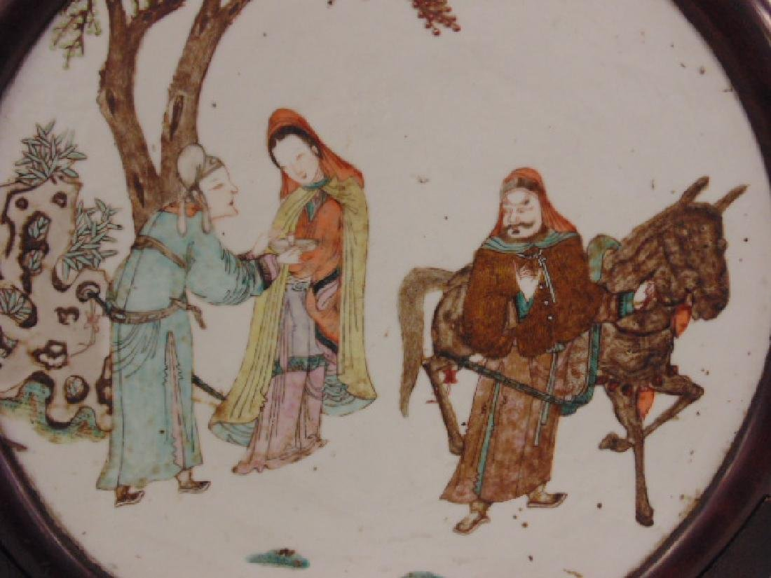 Chinese porcelain plaque, woman offering drink - 3