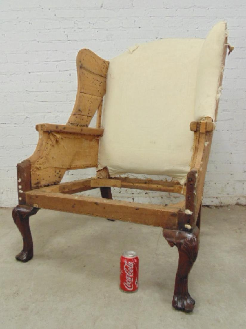 Period wing chair frame, Chippendale feet