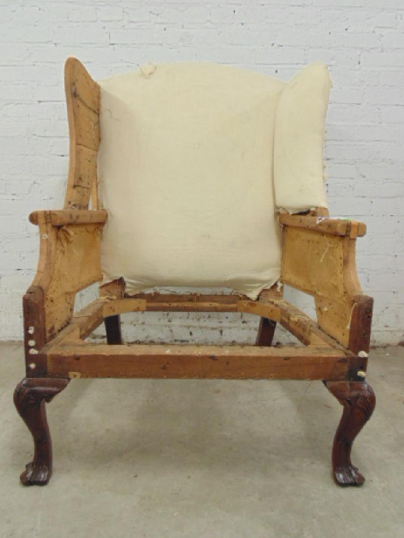 Period wing chair frame, Chippendale feet - 3
