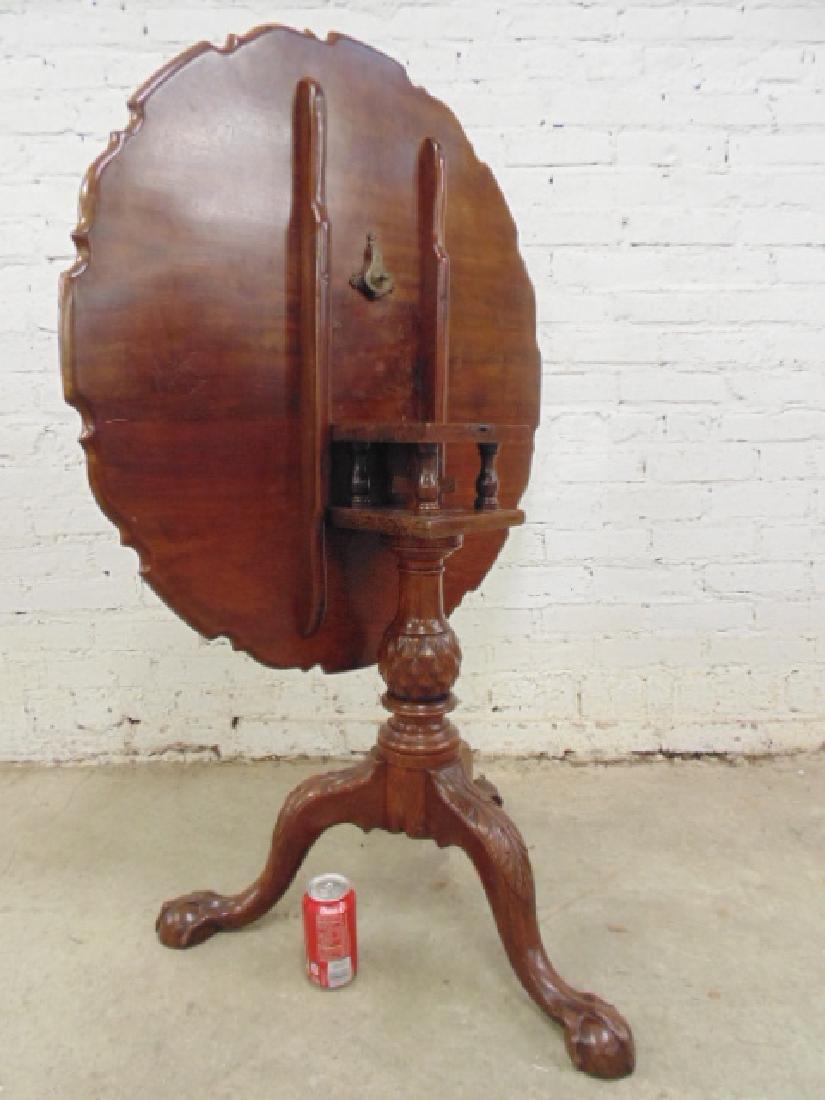 Mahogany Chippendale tilt top birdcage table - 2