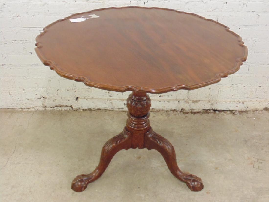 Mahogany Chippendale tilt top birdcage table - 7