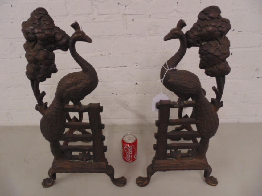 Pair bronze peacock andirons - 2