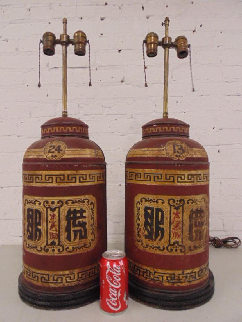Pair canister lamps, Parnall & Sons Ltd