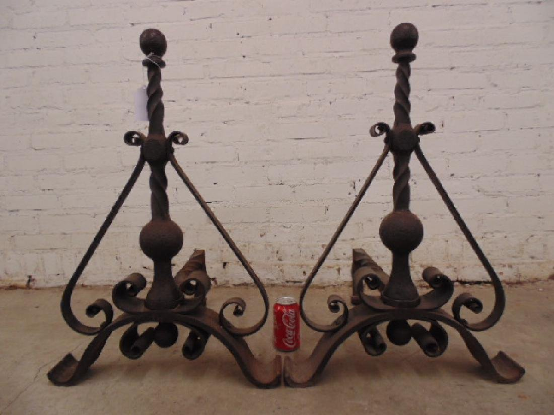 Pair wrought iron arts & crafts andirons