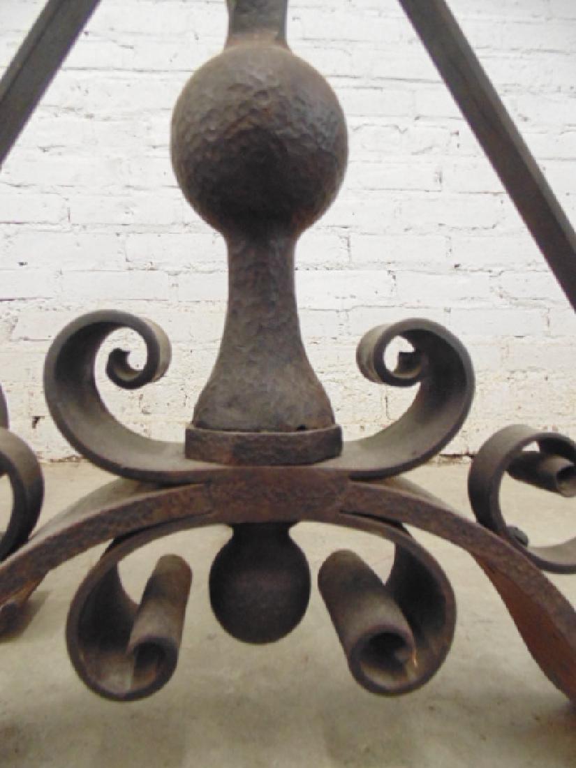 Pair wrought iron arts & crafts andirons - 3