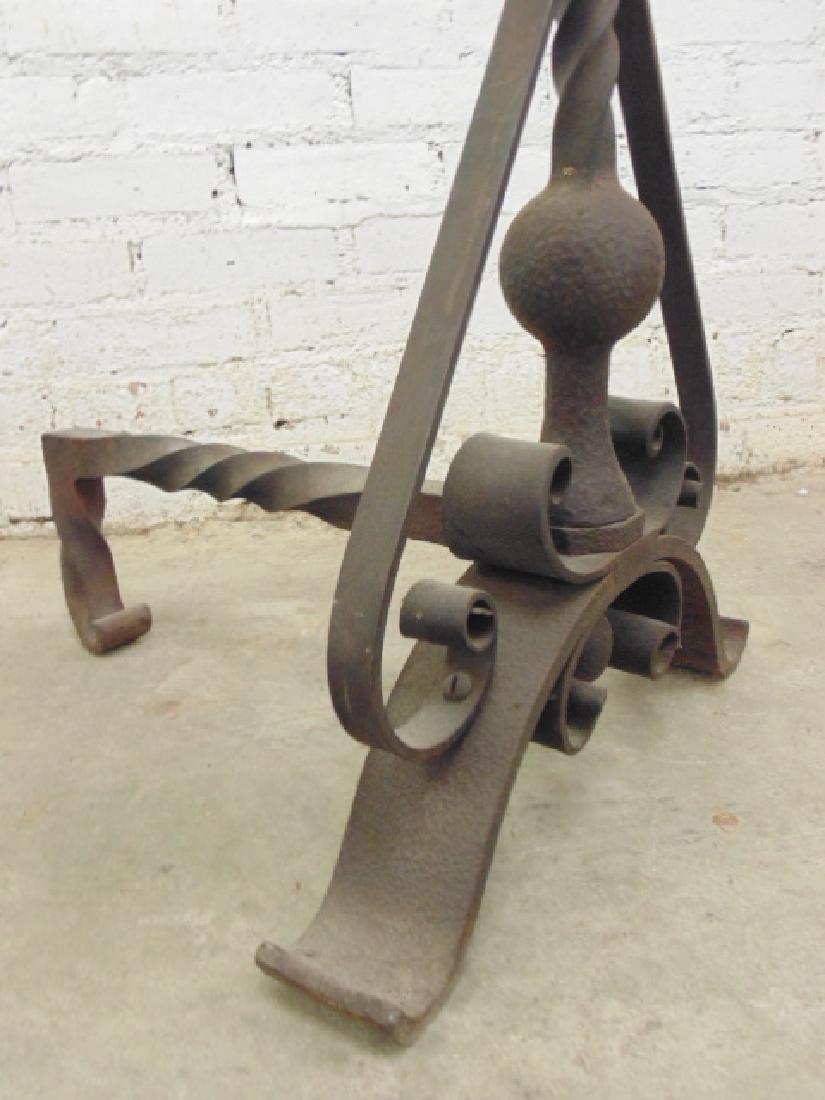 Pair wrought iron arts & crafts andirons - 4