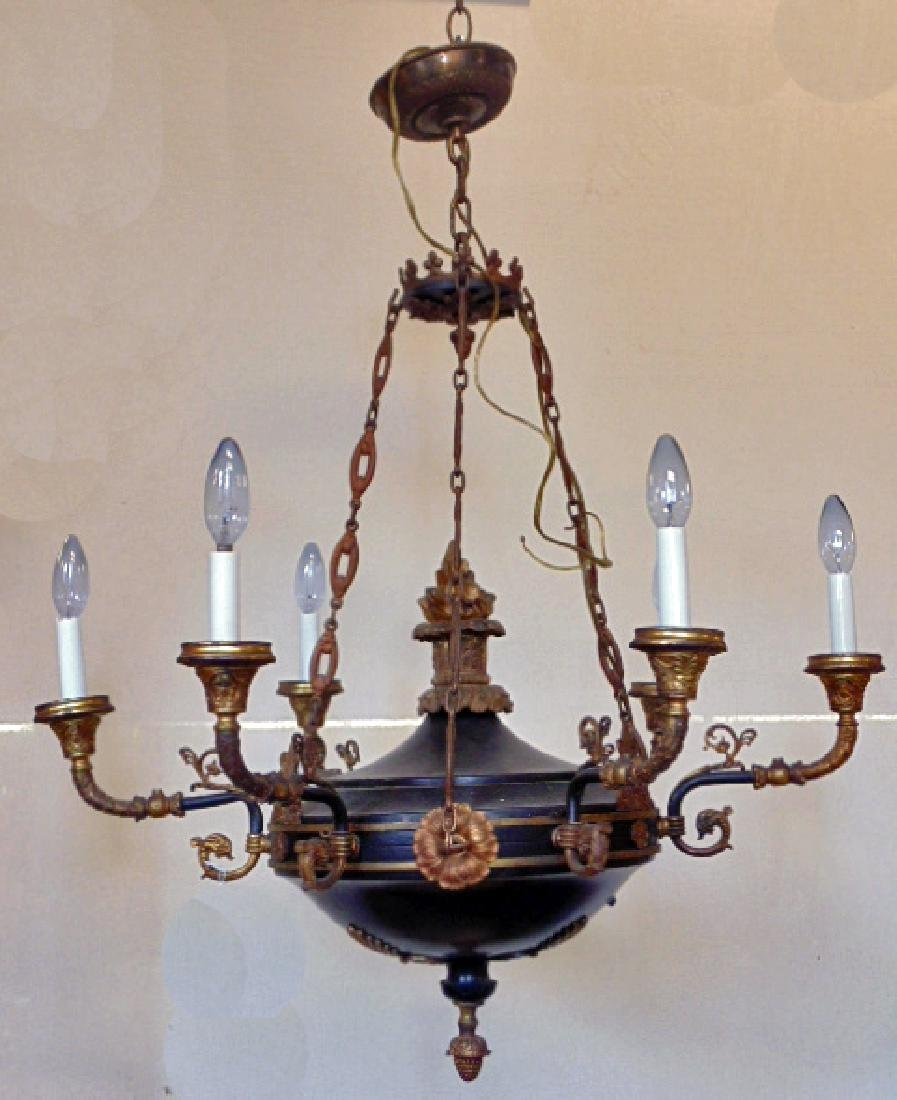 French Empire chandelier, black tole, gilt detail